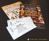 Our tickets for the Witness for the Prosecution play