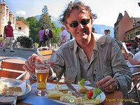 Tony enjoying some great cheeses and a beer