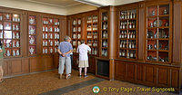 Pharmacy with cabinets of unusual potions