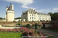 Diane de Poitiers, mistress of Henri II added the gardens and arched bridge over the river