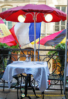 A romantic table for two on the balcony of Le Procope