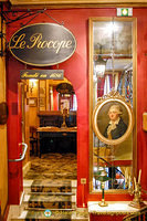 Portrait of Francesco Procopio dei Coltelli, founder of Café  Procope, and in the room up the steps is Voltaire's desk