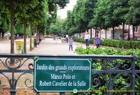 Jardin des grands explorateurs dedicated to Marco Polo and Robert Cavelier de la Salle