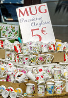 English porcelain mugs for sale at €5 each