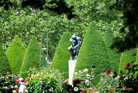 The Thinker in the beautiful gardens of Musée Rodin