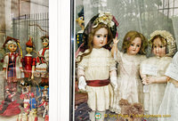 Dolls and costumes in the display window