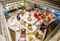Overhead view of the modern furniture gallery
