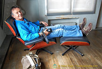 Tony tests the famous Eames Lounge Chair and Ottoman for comfort