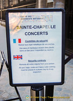 Sainte-Chapelle concert security information