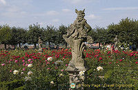 One of the many statues in Bamberg Rose Garden