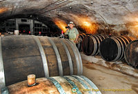 Tony inspects the barrels of wine at Dr. Pauly Bergweiler