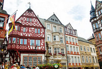 The beautiful timber-frame buildings in Bernkastel Marktplatz are homes to cafes, restaurants and wine taverns