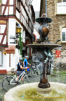 This fountain in Karlsbader Platz is a gift from Karlovy Vary, twin town to Bernkastel