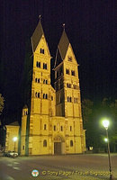 Romanesque twin-tower facade of the Basilica St. Castor