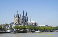 View of Groß St. Martin and Cologne Cathedral