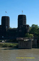 The dark Remagen Bridge towers