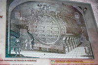 Historical image of the world's largest wine barrel