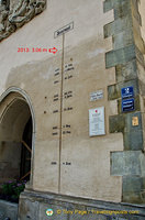 Flood levels marked on the Town Hall wall