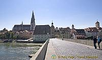 View of Regensburg Old Town from the Old Stone Bridge