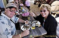 Mike and Jackie enjoying their bratwurst - this was after breakfast