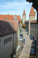 View of Rothenburg walls and towers