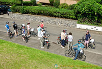 The Uniworld river cruise cyclists assembling for their cycling tour