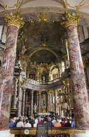 Very ornate interior of Hofkirche