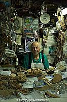 Stavros Melissinos the philosopher/poet in his sandal shop, Plaka