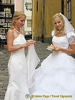 Happy young bride in Budapest
