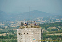 At the top of the Rocca Maggiore tower