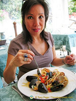 Having Spaghetti Vongole, my favourite