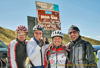 Smiles all round having made it to Passo Giau