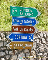 Dolomites travel signposts
