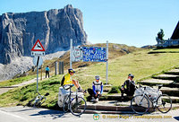Cyclists taking a break at Passo Giau
