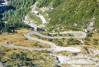 The zig-zag road from the Lagazuoi peak down to the valley
