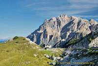 The Rifugio Valparola with views of the Marmolada