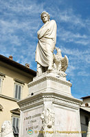 Statue of Dante Alighieri in front of the Santa Croce Basilica