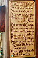 Different types of pecorino cheeses which Pienza is known for