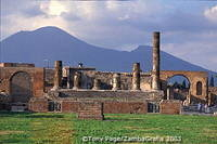 The Temple of Jupiter, with Mount Vesuvius in the background