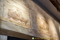 Erotic frescoes in the Lupanar, the famous Pompeii brothel