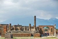 Looking towards the Temple of Jupiter with Vesuvius in the background