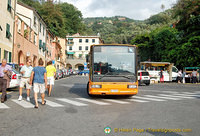 The bus stop at Martyrs Square of Liberty, Portofino