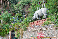 Rhino sculpture above the Marina di Portofino logo