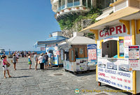 Ticket booths for Positano ferries and excursions