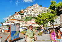 The pyramid-shaped Positano town