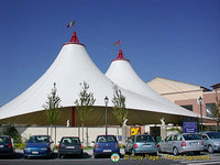 Famous white tents of Castel Romano outlet