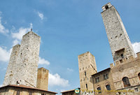 San Gimignano towers around Piazza Duomo