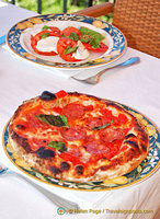 Pizza and Insalata Caprese at the roof-top terrace of Hotel La Favorita