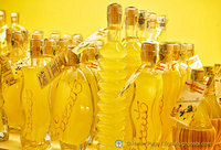 Various shapes of limoncello bottles