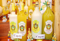 Bottles of limoncello and crema di limoni
